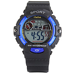 Kinder Sportuhr digital LED Kalender Chronograph Wasserdicht Alarm leuchtend Stopuhr Nachts leuchtend PU Band Schwarz