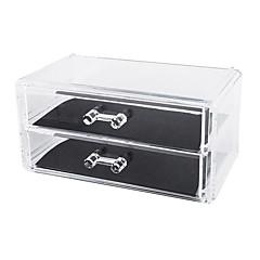メイク用品収納 化粧品箱 / メイク用品収納 プラスチック / アクリル ゼブラプリント 18.6 x 11.5 x 9.0 ビスク