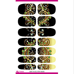 transferencia de agua pegatina hoja del clavo sueño negro plumas de pavo real pegatina de uñas envuelve elegante
