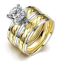 preiswerte Ringe-Bandring / Statement-Ring / Ring - Zirkon, vergoldet Kreuz Personalisiert, Quaste, Böhmische 6 / 7 / 8 Gold Für Hochzeit / Party / Alltag