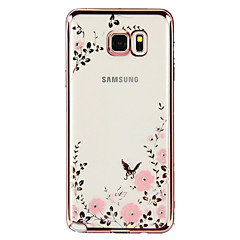 For Samsung Galaxy Note Rhinsten Belægning Transparent Mønster Etui Bagcover Etui Blomst TPU for Samsung Note 5 Note 4 Note 3