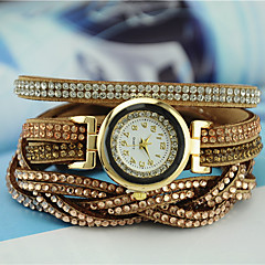 お買い得  大特価腕時計-女性用 ブレスレットウォッチ クォーツ 模造ダイヤモンド PU バンド ハンズ チャーム ファッション ブラック / 白 / ブルー - ブルー ライトブルー ライトブラウン 1年間 電池寿命 / Tianqiu 377