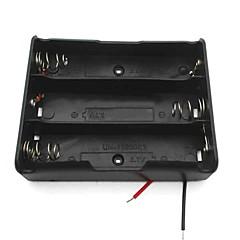 お買い得  アクセサリー-3スロット3.7V 18650バッテリーホルダーケースボックスリード/ wの - 黒