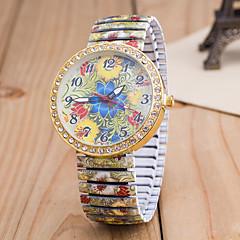 preiswerte Tolle Angebote auf Uhren-Damen Quartz Armbanduhr Imitation Diamant Legierung Band Blume Modisch Mehrfarbig