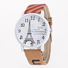 preiswerte Tolle Angebote auf Uhren-Damen Quartz Armbanduhr Armbanduhren für den Alltag Leder Band Blume Eiffelturm Modisch Weiß Blau Braun Khaki