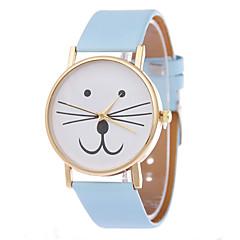 preiswerte Tolle Angebote auf Uhren-Damen Quartz Armband-Uhr Katze PU Band Zeichentrick Modisch Schwarz Weiß Blau Rot Braun Rosa