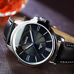 お買い得  メンズ腕時計-YAZOLE 男性用 クォーツ ドレスウォッチ カジュアルウォッチ 夜光計 レザー バンド チャーム ブラック ブラウン