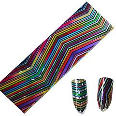 1pcs 100 * 4cm del clavo del brillo de transferencia arte pegatinas DIY geométrica mágico onda de la raya color de las uñas de imagen del