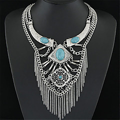 Women's Pendant Necklaces Statement Necklaces Jewelry Silver Plated Turquoise Tassel Vintage European Multi Layer Costume Jewelry Jewelry