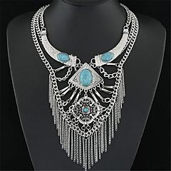 Kadın's Uçlu Kolyeler Açıklama Kolye Mücevher Gümüş Kaplama Turkuaz Eski Tip Avrupa Çoklu Katman kostüm takısı Mücevher Uyumluluk Parti