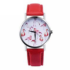 Dames Modieus horloge Kwarts Vrijetijdshorloge Leer Band Wit Rood