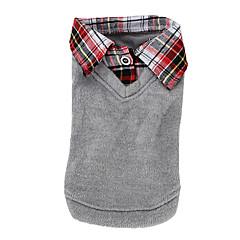 お買い得  犬用ウェア&アクセサリー-犬 Tシャツ / セーター 犬用ウェア ブリティッシュ グレー コットン コスチューム ペット用 男性用 / 女性用 カジュアル/普段着 / ファッション