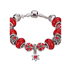 Lucky Doll Vintage Silver Plated Gemstone & Crystal / Cubic Zirconia Link/Chain / Beaded / Charm Bracelet #YMGP1009