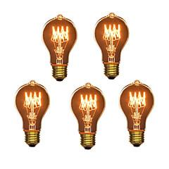 5pcs a19 e27 40w glødelampe vintage pære til bar kaffe hus hotel (220-240v)