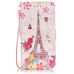 For iPhone 6 etui iPhone 6 Plus etui Pung Kortholder Flip Etui Heldækkende Etui Eiffeltårnet Blødt Kunstlæder for AppleiPhone 6s Plus/6
