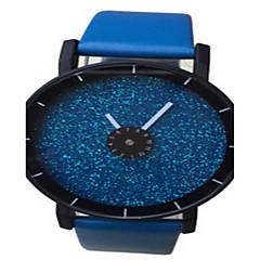 preiswerte Armbanduhren für Paare-Damen Armbanduhr Armbanduhren für den Alltag / Cool Leder Band Glanz / Modisch Schwarz / Weiß / Blau
