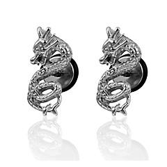 Chinese Dragon Screw Back Stud Earrings