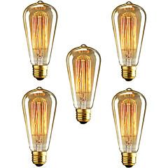 5db st64 e27 40w izzó szüreti edison lámpa éttermi klub kávézókhoz világítás (220-240v)