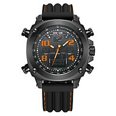 お買い得  大特価腕時計-WEIDE 男性用 スポーツウォッチ アラーム / カレンダー / 耐水 シリコーン バンド ぜいたく ブラック / 2タイムゾーン / ストップウォッチ