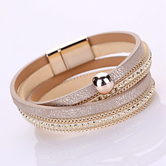 Women's Chain Bracelet Wrap Bracelet Fashion Handmade Multi Layer Leather Rivet Magnet Alloy Geometric Jewelry For Daily Casual