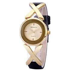 preiswerte Damenuhren-REBIRTH Damen damas Armbanduhr Quartz Schlussverkauf / PU Band Analog Freizeit Modisch Schwarz - Rotgold Schwarz / Silber Weiß / Silber