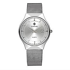 お買い得  大特価腕時計-WWOOR 男性用 カップル用 クォーツ リストウォッチ カレンダー 耐水 ステンレス バンド ぜいたく カジュアル ファッション シルバー