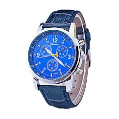 お買い得  メンズ腕時計-男性用 リストウォッチ クォーツ デザイナー / スイスの レザー バンド ハンズ カジュアル ドレスウォッチ ブラック / ブルー / ブラウン - ブラック Brown ブルー