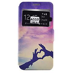halpa Galaxy A5 kotelot / kuoret-Etui Käyttötarkoitus Samsung Galaxy Samsung Galaxy kotelo Korttikotelo Pölynkestävä Iskunkestävä Tuella Suojakuori Sydän Pehmeä PU-nahka