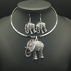 Women's Necklace/Earrings Luxury Vintage Daily Casual Imitation Diamond Elephant Circle Animal Earrings Necklaces