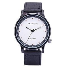 お買い得  メンズ腕時計-REBIRTH 男性用 リストウォッチ クォーツ ホット販売 / PU バンド ハンズ カジュアル ファッション ブラック / ブルー / カーキ - ブラック / ホワイト ブラック カーキ色