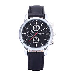 お買い得  大特価腕時計-REBIRTH 男性用 クォーツ リストウォッチ ドレスウォッチ / ホット販売 PU バンド カジュアル ブラック 白 ブラウン