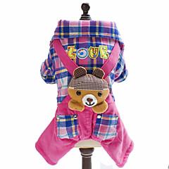 お買い得  犬用ウェア&アクセサリー-犬 ジャンプスーツ 犬用ウェア 格子柄 ブリティッシュ 動物 ブルー ピンク フリース コットン コスチューム ペット用 男性用 女性用 ファッション