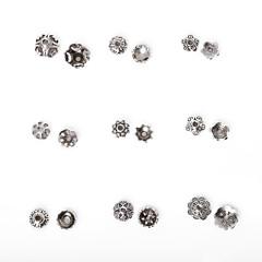 beadia 334pcs vegyes 9 stílus&méretek antik ezüst ötvözetből gyöngy sapka fém virág távtartó gyöngyök