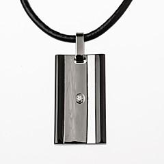 Муж. Ожерелья с подвесками Титановая сталь Имитация Алмазный Мода Простой стиль Черный Серебряный БижутерияДля вечеринок Повседневные