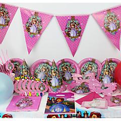 お買い得  ホームデコレーション-高級ソフィア78pcsの誕生日パーティーの装飾の子供たち6人が使うパーティー用品パーティーの装飾をevnent