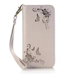 Недорогие Чехлы и кейсы для Galaxy Note Edge-Кейс для Назначение SSamsung Galaxy Samsung Galaxy Note7 Бумажник для карт со стендом Флип Магнитный Рельефный Чехол Бабочка Твердый Кожа