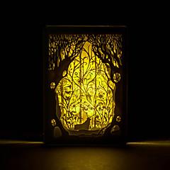 1pc ciervos en el bosque de la silueta tridimensional tallada lámpara foto nórdico luz de la noche del marco