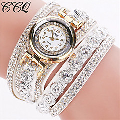 cheap Bracelet Watches-Women's Quartz Bracelet Watch Imitation Diamond Leather Band Sparkle / Fashion Black / White / Silver