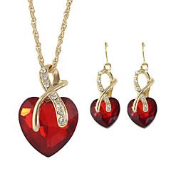 preiswerte Halsketten-Damen Schmuck-Set - Strass Herz Modisch Einschließen Kreolen / Anhängerketten / Halskette / Ohrringe Rot / Grün / Blau Für Hochzeit / Geschenk / Alltag / Halsketten
