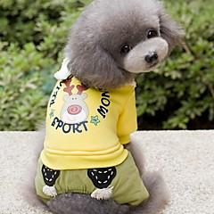 Perros Mono Ropa para Perro Invierno Primavera/Otoño Caricaturas Adorable Vacaciones Moda Amarillo Verde