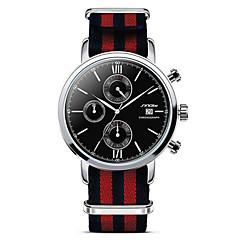 お買い得  メンズ腕時計-SINOBI 男性用 スポーツウォッチ / ファッションウォッチ / リストウォッチ カレンダー / クロノグラフ付き / 耐水 生地 バンド ぜいたく ブラック / レッド / ステンレス / ストップウォッチ / 2年 / Sony SR626SW