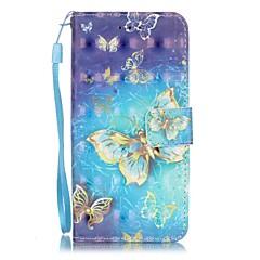Недорогие Кейсы для iPhone X-Кейс для Назначение Apple iPhone X / iPhone 8 / iPhone 7 Бумажник для карт / С узором Чехол Бабочка Твердый Кожа PU для iPhone X / iPhone 8 Pluss / iPhone 8