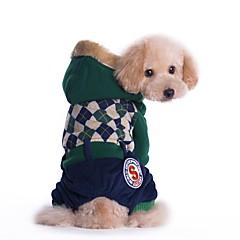 abordables Accesorios y Ropa para Perros-Gato Perro Abrigos Mono Ropa para Perro Británico Rojo Verde Algodón Pana Disfraz Para mascotas Hombre Mujer Casual/Diario Mantiene