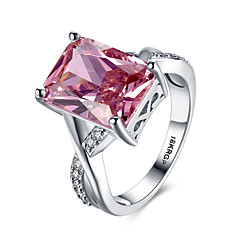 cheap Rings-Women's Synthetic Ruby Band Ring Statement Ring - Sterling Silver, Zircon, Imitation Diamond Heart, Love Personalized, Fashion 6 / 7 / 8 / 9 Red For Wedding Party Engagement