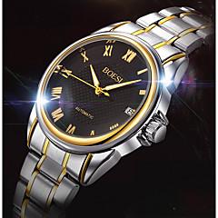 cheap Watch Deals-BOSCK Men's Mechanical Watch Calendar / date / day / Water Resistant / Water Proof Stainless Steel Band Casual / World Map Gold
