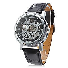 preiswerte Herrenuhren-WINNER Herrn Totenkopfuhr / Armbanduhr / Mechanische Uhr Transparentes Ziffernblatt / Cool PU Band Schwarz / Mechanischer Handaufzug