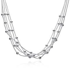 preiswerte Halsketten-Damen Layered Ketten - Sterling Silber, versilbert Quaste Weiß Modische Halsketten Für Party, Alltag, Normal