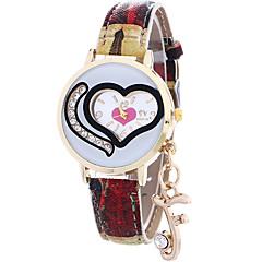 preiswerte Tolle Angebote auf Uhren-Damen damas Armbanduhr Quartz Schlussverkauf Cool / Leder Band Analog Heart Shape Freizeit Modisch Blau / Rot / Grau - Purpur Rot Hellblau