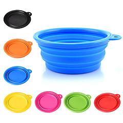 Dog Bowls & Water Bottles Pet Bowls & Feeding Portable Foldable Yellow Red Green Blue Blushing Pink