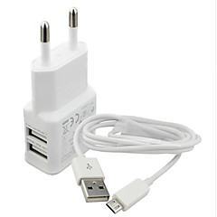 Charger Kit / Multi Ports Home Charger / Portable Charger EU Plug 2 USB Ports with Cable For Cellphone(5V , 2.1A)